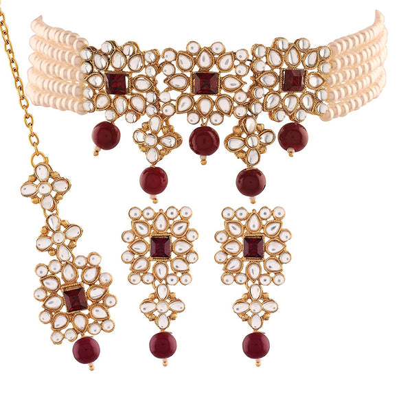 Traditional Gold Plated Pearl & Kundan Necklace Set with Maang Tikka for Women