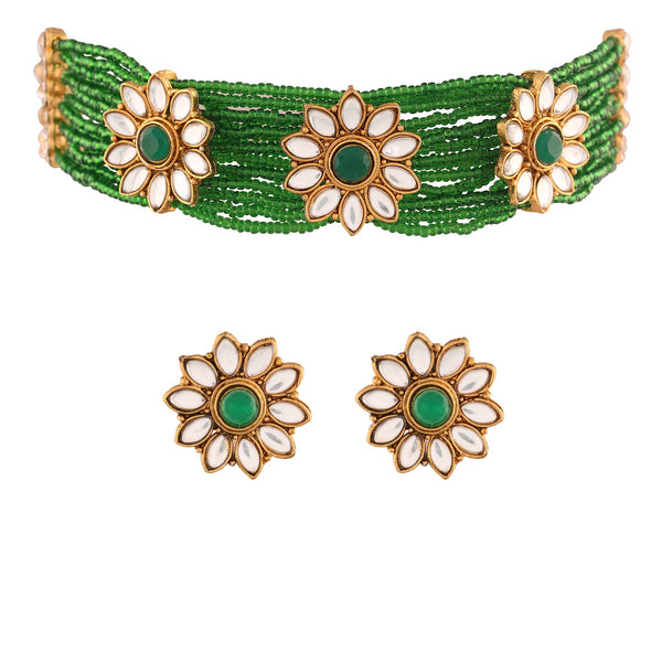 Traditional Gold Plated Floral Pearl & Beads Choker Necklace Set for Women (ML228G)