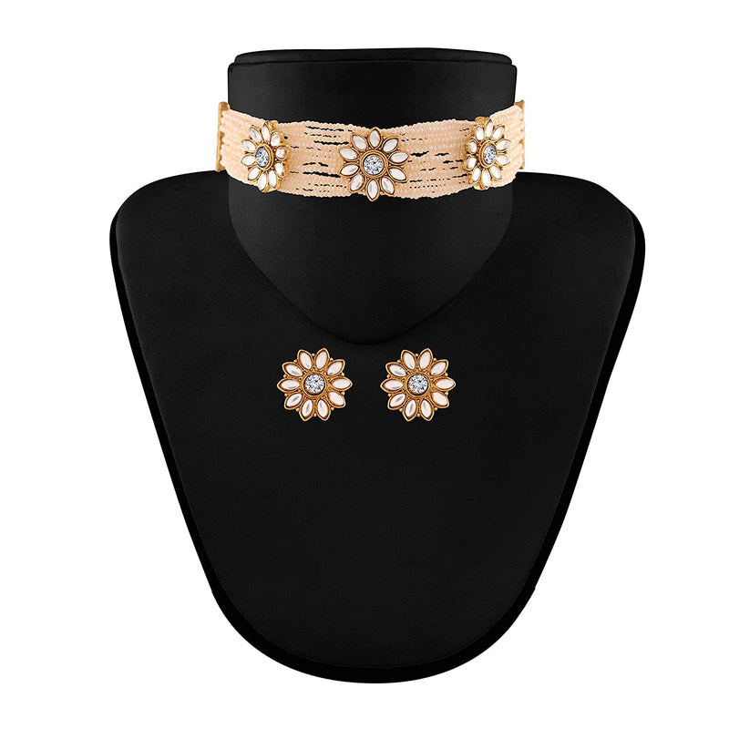 Traditional Gold Plated Floral Pearl & Beads Choker Necklace Set for Women (ML228W)