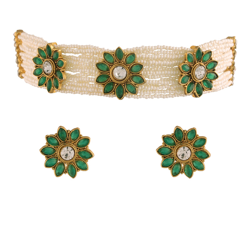 Gold Plated Handcrafted Ethnic Beaded Choker with Earrings for Women/Girls (ML228WG)