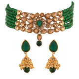 Traditional Gold Plated Kundan & Beads Choker Necklace Set for Women (ML231G)