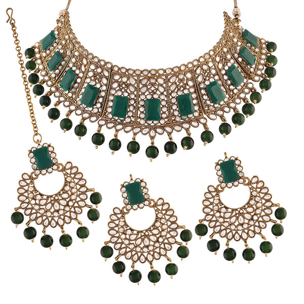 Traditional Gold Plated Beads & Kundan Choker Necklace Set with Maang Tikka for Women (ML232G)