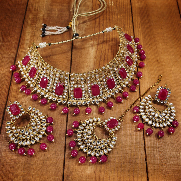 Traditional Gold Plated Beads & Kundan Choker Necklace Set with Maang Tikka for Women (ML232Q)