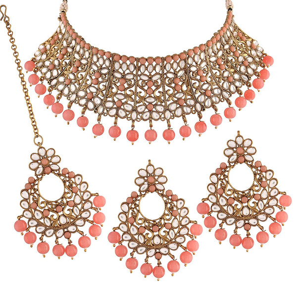 Traditional Gold Plated Kundan & Beads Choker Necklace Set with Maang Tikka for Women (ML233Pe)