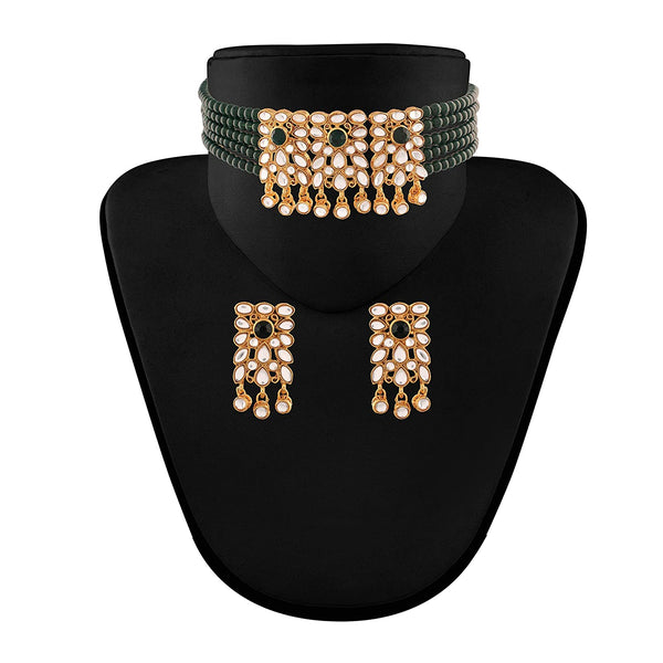Traditional Gold Plated Kundan & Beads Choker Necklace Set for Women (ML236G)