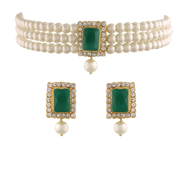 Gold Plated Traditional Handcrafted Beaded Emerald Choker with Earrings for Women/Girls (ML237G)