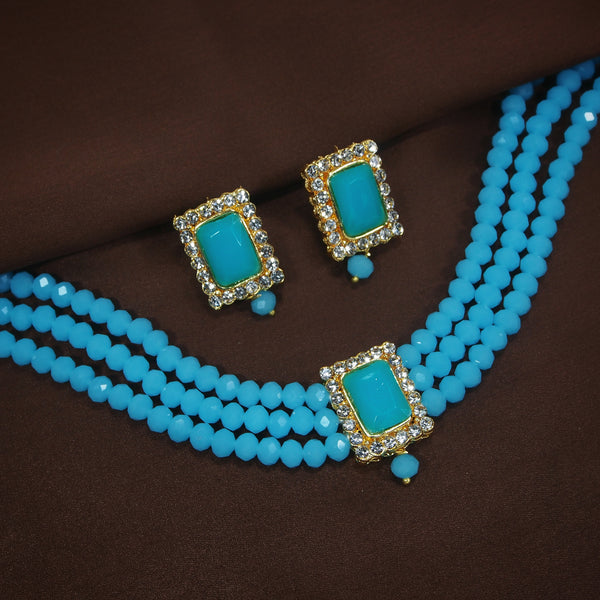 18K Gold Plated Traditional Handcrafted Beaded Turquoise Choker with Earrings for Women/Girls (ML237Sb)