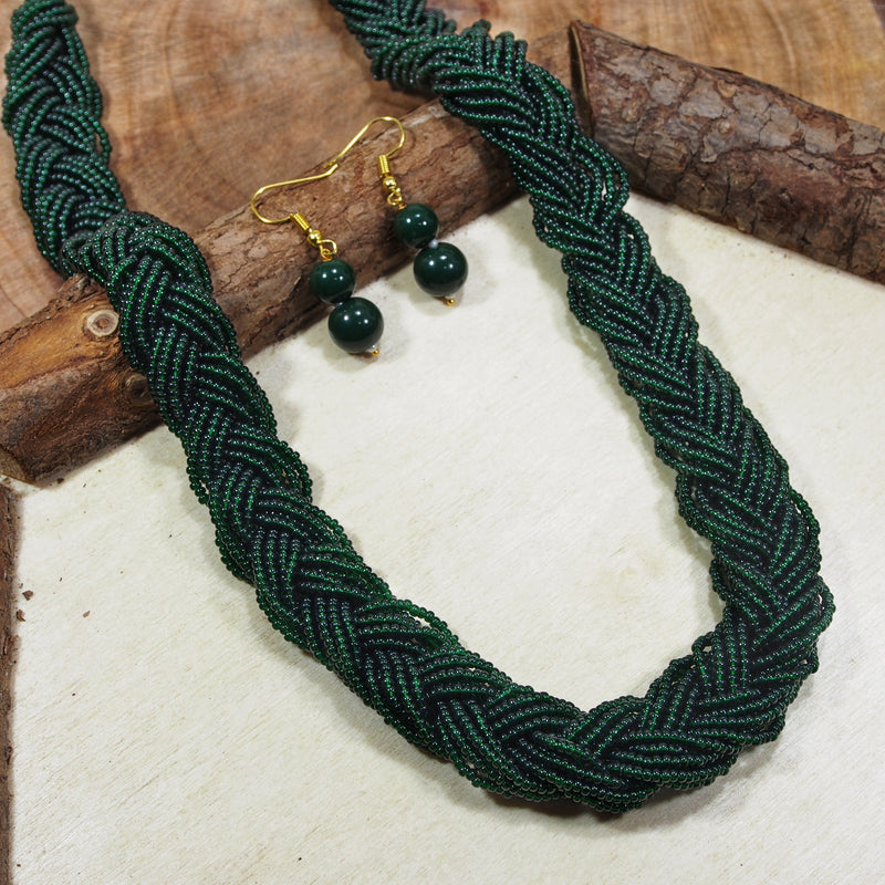 Antique Finish Emerald Twisted Beads Long Necklace Set For Women