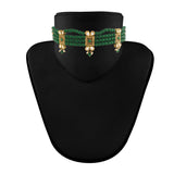 18K Gold Plated Traditional Handcrafted Kundan & Pearl Beaded Choker with Earrings For Women/Girls