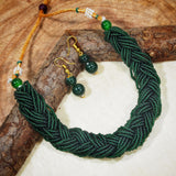 Antique Finish Emerald Twisted Beads Choker Necklace For Women