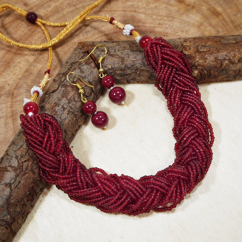 Antique Finish Ruby Twisted Beads Choker Necklace For Women