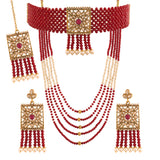 18k Gold Plated Traditional Onyx Crystal Beads with Peal Kundan Necklace Set for Women