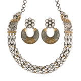 Silver Oxidized Toned Stone Studded Peacock Design Handcrafted Necklace Set For Women