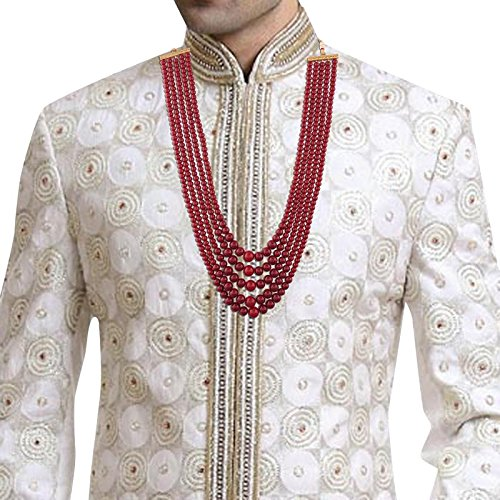 Traditional Gold Plated Wedding Necklace/Moti Mala for Men