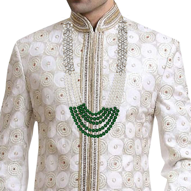 Traditional Gold Plated Pearl & Kundan Groom Necklace/ Moti Mala for Men