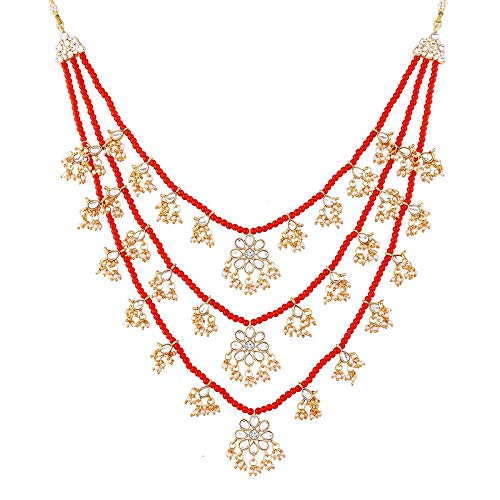 Traditional Designer Multi Stand Pearl & Kundan Maharaja Haar Groom Necklace Set  for Men