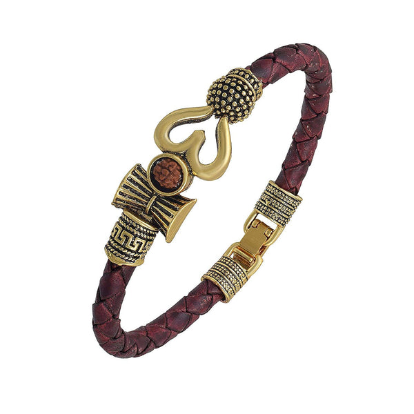 Rudraksha Trishul Damroo Silver Oxidised Plating Brass Kada for Men (MLPBR2)