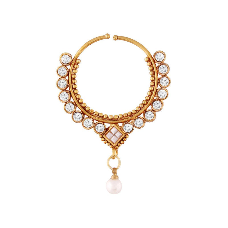 Gold Plated Traditional Bridal Pearl Nose Ring/Nath for Women (NL02)