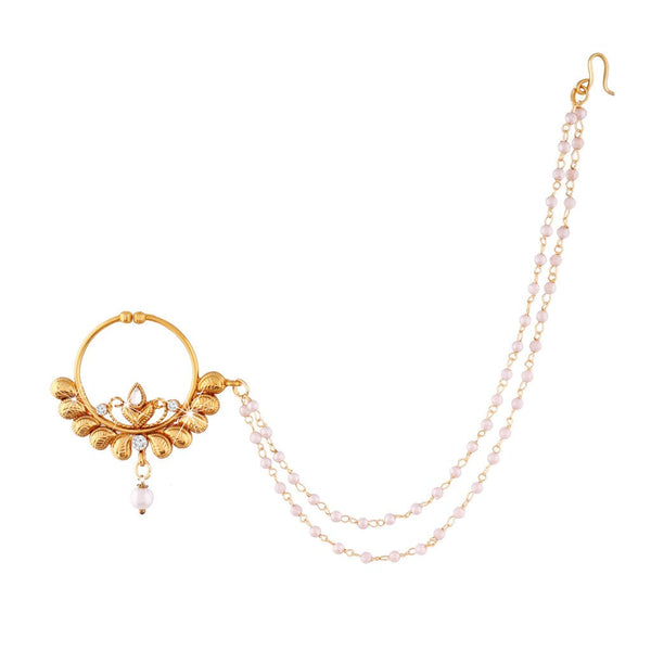 Gold Plated Traditional Bridal Pearl Nose Ring/Nath with Chain for Women (NL03)