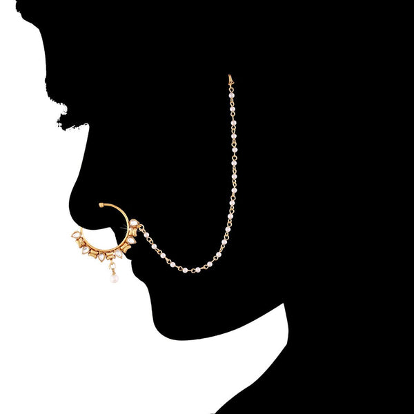 Gold Plated Traditional Bridal Pearl Kundan Nose Ring/Nath with Chain for Women (NL05)
