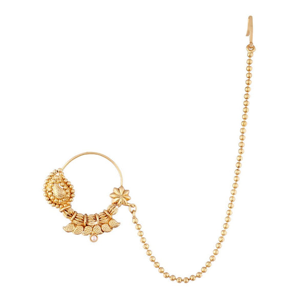 Traditional Gold Plated Nose Ring/Nath with Chain for Women (NL07)