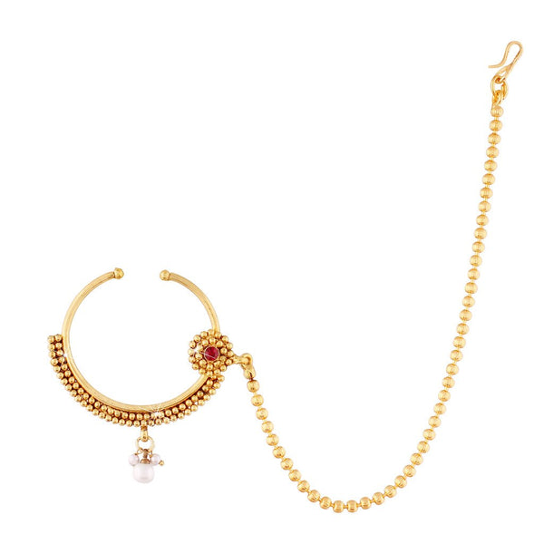 Traditional Gold Plated Nose Ring/Nath with Chain for Women (NL09)