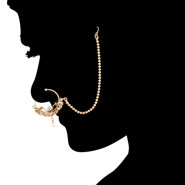 Traditional Gold Plated Nose Ring/Nath with Chain for Women (NL10)