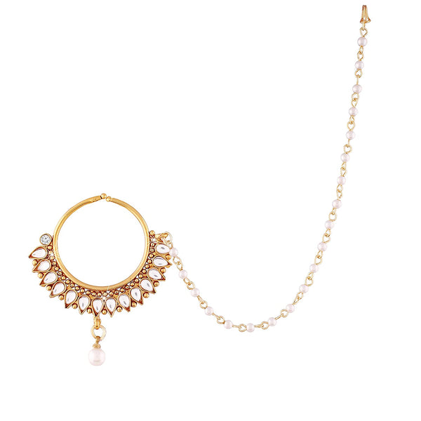 Gold Plated Traditional Bridal Pearl Kundan Nose Ring/Nath with Chain for Women (NL12)