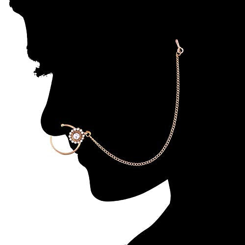 Traditional Gold Plated Pearl Nose Ring/Nath with Chain for Women (NL16)