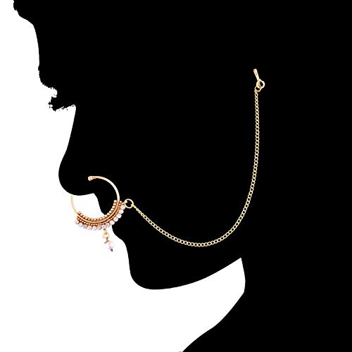 Traditional Gold Plated CZ Stone & Pearl Nose Ring/Nath with Chain for Women (NL19)