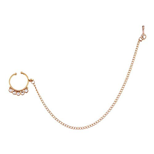 Traditional Gold Plated Kundan Nose Ring/Nath with Chain for Women (NL20)