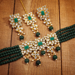 Traditional Gold Plated Pearl & Kundan Choker Necklace Set with Maang Tikka for Women