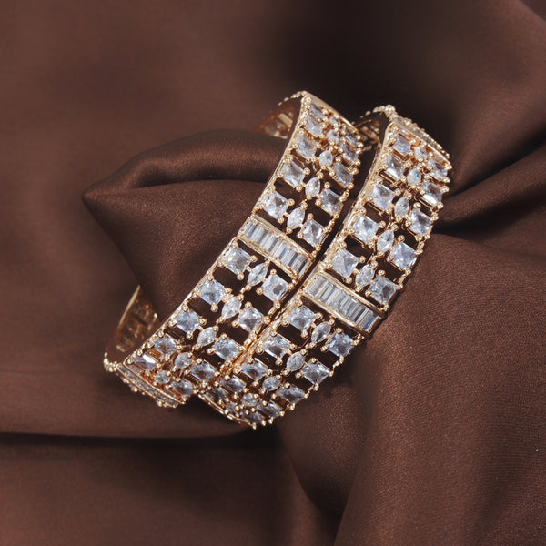 18K Rose Gold Plated Traditional Thick Brass Bangles Encased With CZ American Diamonds For Women/Girls (ADB311RG)