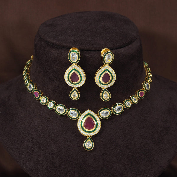 18K Gold Plated Intricately Handcrafted Pachi Kundan Jewellery Set For Women (P0007)