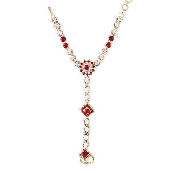 Maroon Gold Stone Studded Bridal Hath Phool Set for Women