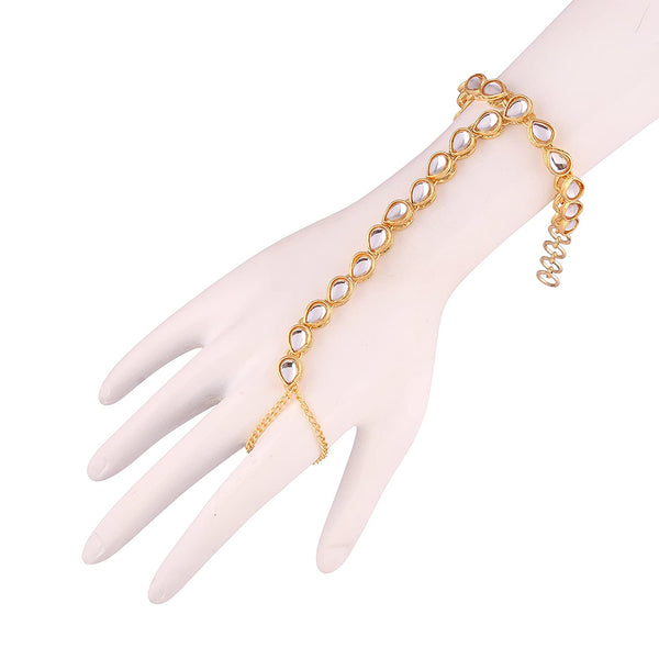 Traditional Gold Plated Kundan Hath Punja Adjustable Chain Bracelet with Ring for Women (PIJ010W)