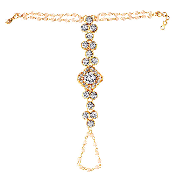 Traditional Gold Plated Pearl Hath Punja Bracelet with Ring for Women (PIJ015W)