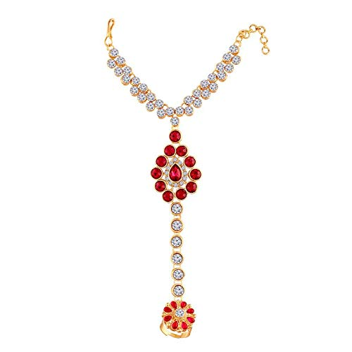 Traditional Gold Plated CZ Hath Phool/Panja with Ring for Women (PIJ018Q)