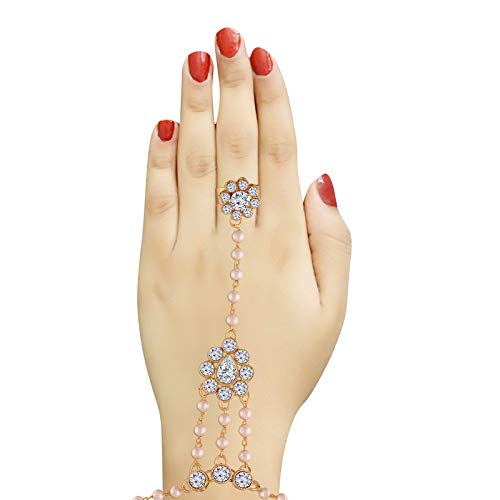 Traditional Gold Plated Pearl Haath Phool/Panja/Adjustable Bracelet with Ring for Women (PIJ019W)
