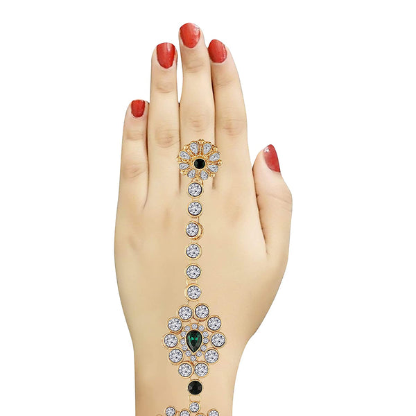 Traditional Gold Plated CZ Haath Phool/Panja/Adjustable Bracelet with Ring for Women (PIJ020G)