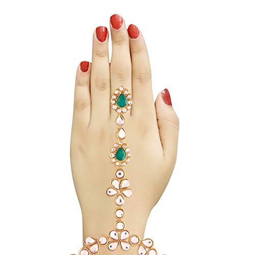 Traditional Gold Plated Kundan Haath Phool/Panja/Adjustable Bracelet with Ring for Women (PIJ021G)