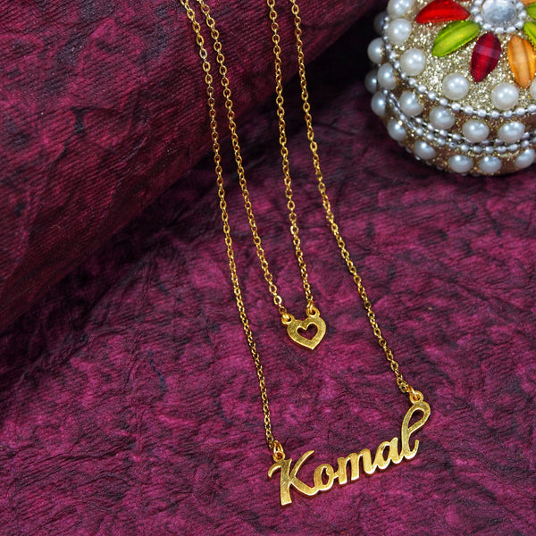 Gold Plated Personalized Name Necklace With Heart