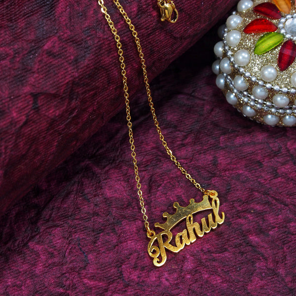 Gold Plated Personalized Name Pendant With Chain and Crown