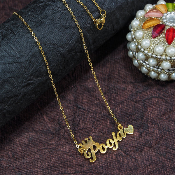 Gold Plated Personalized Name Necklace With Crown and Heart