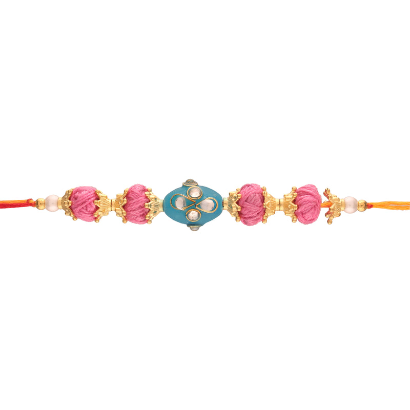 Gold Plated Kundan And Pearl Rakhi for Beloved Brother