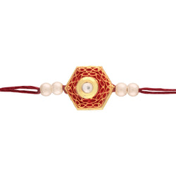 Gold Plated Pearl and Crystel Studded Rakhi For Brother