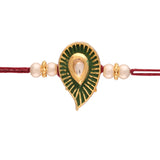 Gold Plated Kundan And Pearl Combo Pack of 2 Rakhi for Beloved Brother (R606-05)