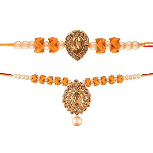 Yellow Gold Plated Pearl and Stone Studded Rakhi for Bhaiya and Bhabhi