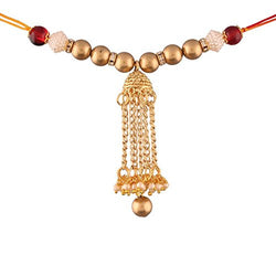 Gold Plated Jhumki Style Lumba Rakhi for Bhabhi