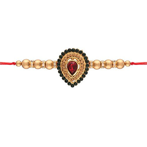 Gold Plated Stone Studded Rakhi for Men
